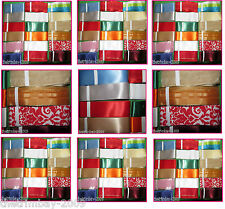 Mixed Satin,Organza Patterned Ribbon -18 Pieces of 3m lengths -Assorted Widths