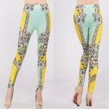 Quality Yellow Floral Patterned Low Cut Leggings Pants One Size 9264
