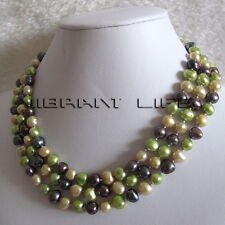 "52"" 7-9mm Champagne Green Peacock Baroque Freshwater Pearl Necklace Jewelry U"
