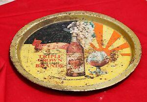 Vintage TRriple Crown Pure Grape Brandy Mohan Meakin Ltd Adv. Litho Tin Tray