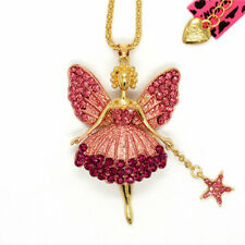 Hot Betsey Johnson Pink Enamel Crystal Ballet Fairy Angel Sweater Chain Necklace