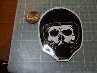 BLACK MOTORCYCLE HELMET SKULL GLOSSY Stickers Bumper Bombit Actual Pattern NEW