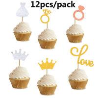 12Pcs Party Favors Cake Decor Cupcake Toppers Glitter Diamond Ring Picks