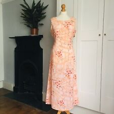 Vintage 90s Peach Pink Red Floral Print Silk Blend Long Maxi Dress 12 14