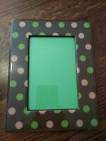 Adorable Vintage Chunky Polka Dots Photo Picture Table Frame 4x6 Brown Pink Gree