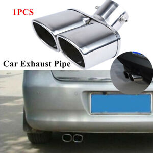 """1PC Car Part Stainless Steel 63mm/2.5""""Dual Exhaust Tip Square Tail Pipe Muffler"""
