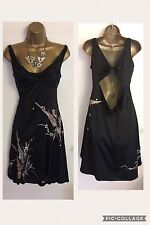 KAREN MILLEN Silk Cowl Back Wedding Day Evening Party Prom Dress Sz Uk Small 10