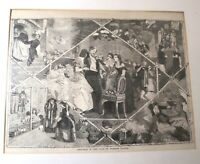 original antique 1860 original Florence Claxton engraving Christmas in Leap Year