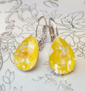 Crystal earrings leverback Earrings Genuine Swarovski element  Sunshine DeLite