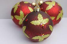 Gisela Graham Noël vieilli rouge cerise boule avec Holly feuille x 3