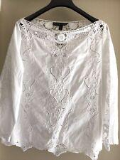 Ralph Lauren BLACK LABEL $495 Cotton boat neck Lace blouse top white 12