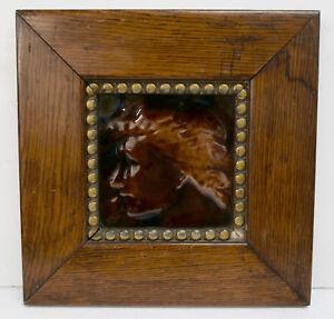 J & J.G. Low Framed Antique Portrait Tile American Victorian