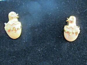 AVON *CHICK IN EGG PIERCED EARRINGS* WITH SURGICAL STEEL POSTS*NEW*