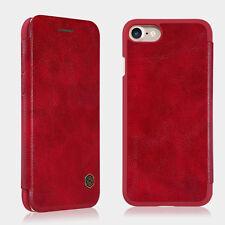 Cuir Véritable Porte-carte Coque Étui de Protection pour Apple iPhone 7 / Rouge
