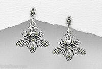 "1"" Solid Sterling Silver 26mm Marcasite Bee Dangle Earrings Friction Backs 5.5g"