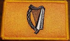 Irish Ireland Harp Flag Patch W/ VELCRO® Brand Fastener Gold & Black Gold Border