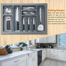 Grey Cutlery Tray Box Insert Cabinet Kitchen Drawer Storage Holder Organiser