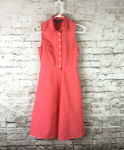 Anthropologie Sunday in Brooklyn 00 Edina Poplin Shirt Dress Cotton Coral Orange