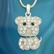 "Dog W Swarovski Crystal Puppy Pet Necklace Pendant Jewelry 18"" Chain Gift"