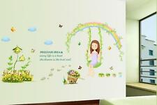 Rainbow swing girl Home Bedroom Decor Removable Wall Stickers Decal Decorations
