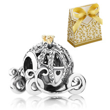 925 Silver Sterling Disney Cinderella Pumpkin Cart gold crown Charm+ gift box
