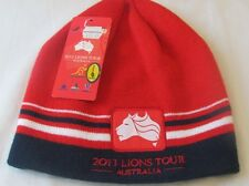 2013 LIONS TOUR AUSTRALIA RED STRIPED RUGBY PATCH CLOTH BEANIE