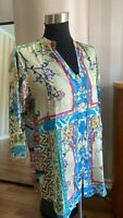 Johnny Was Silk Hari Button Down Floral Blouse  Tunic Top   Size Medium