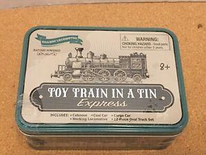 Toy Train In A Tin Express 12 pc Set Railway Mini Working Locomotive 8+ New