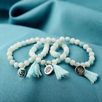 Natural Stone Lotus Buddha Mala Tassel Beads Bracelets Bangles Women Yoga Prayer