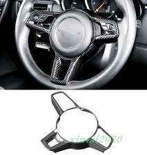 Black Carbon Fiber Steering Wheel Moulding Cover Trim For Porsche Macan 2014-19