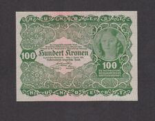 100 Kronen Aunc Banknote From Austria 1922 Pick-77