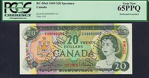 Canada $20 SPECIMEN 1969 BC-50aS GEM UNC PCGS 65 PPQ