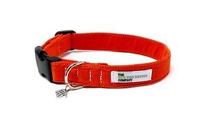 Orange Corduroy Dog Collar, Fully adjustable