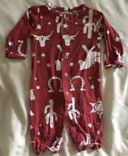 Baby Boy MUD PIE One Piece Footless Outfit  0-3 Mos Texas Western Cowboy Red