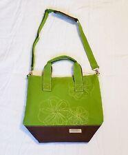 "Lock & Lock 12""×13"" Green Lunch Bag Canvas Flower Print Adjustable Strap"