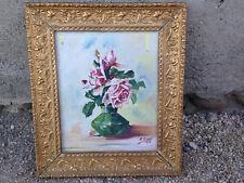 Tableau huile sur toile signé Drevet 1916 bouquet de fleurs cadre doré sculpté