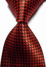 New Classic Checks Red Black JACQUARD WOVEN 100% Silk Men's Tie Necktie