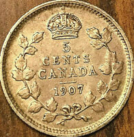 1907 CANADA SILVER 5 CENTS COIN - Excellent example!