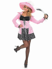 Ladies Pink Glitzy Pirate Costume Caribbean Buccaneer Fancy Dress Size 12-14