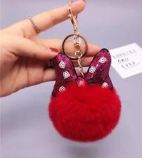 Red Rabbit Fur Key Chain Pom Pom Ball Fashion Purse Punk Phone Pendant Charm