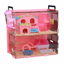 2Tiers Hamster Cage Small Animal Carrier Habitat+Accessories Supply Acrylic Cage