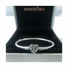 Genuine 925 Silver Pandora Moments Family Heart Clasp Snake Chain Bracelet bag