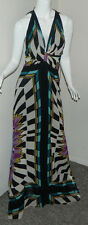 New Women 100% Silk Nicole Miller Multi-Color Evening Sexy Maxi Dress 6 $595 NWT