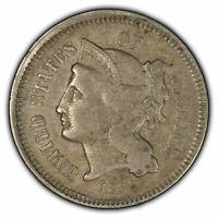1866 3c Nickel Three-Cent Piece - Solid Mid-Grade Example - SKU-Z1135