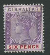 Gibraltar SG44 1898 riemettere in sterline MONETA 6d Violet e Red montato Nuovo di zecca