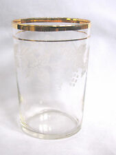 Frosty GRAPES Pattern Glass TUMBLER Vintage Drinking Glass B