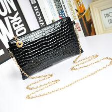 New Women Faux Leather Messenger Crossbody Clutch Shoulder Handbag Bag Black