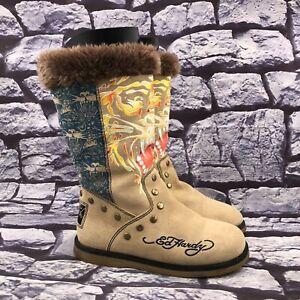Ed Hardy Women's Tan Suede Multicolor Faux Fur Lined Winter Boots Size 5