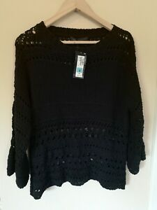 BNWT JUMPER M & S 16 dark Blue Loose Knit responsibly sourced Cotton Autumn
