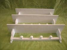 Set de 3 ESTANTERÍAS BALDA con COLGADORES, 80 cms. lacadas en blanco